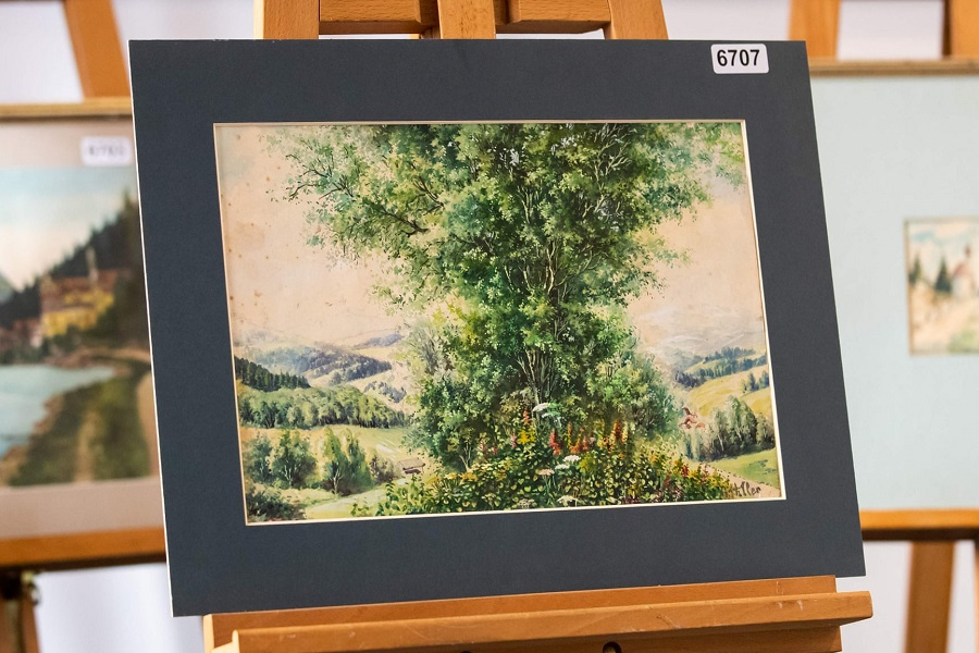 A watercolour attributed to Adolf Hitler on display ahead of the auction in Nuremberg. Photograph: Daniel Karmann/AFP/Getty Images
