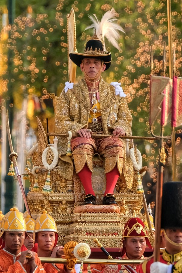 The British-educated Rama X pictured as his coronation (Getty Images)