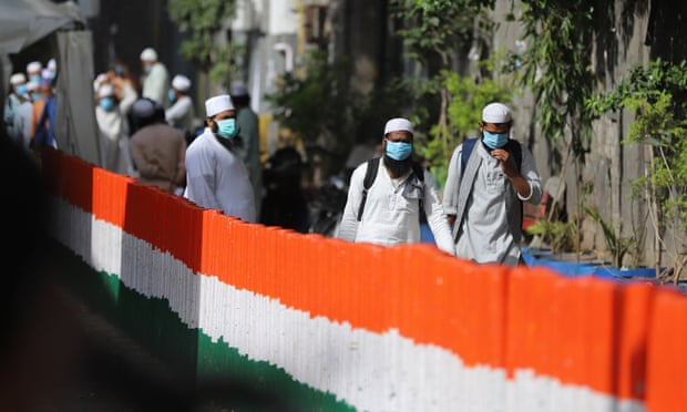 Police cordon off the Nizamuddin area of Delhi on Wednesday after several members of an Islamic congregation tested positive for coronavirus. Amarjeet Kumar Singh-SOPA Images-Rex-Shutterstock